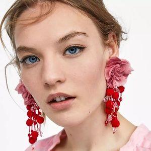 Zara Earrings With Fabric Flowers